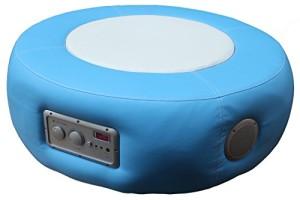 Stylische Loungeinsel, Multimediahocker ♥ Bass-Sound-Sitz, Musik Sessel mit Lautsprecher ♥ 18 kg ♥ blau
